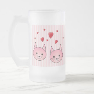 Cute Pink Cats, with Red Love Hearts. Coffee Mug