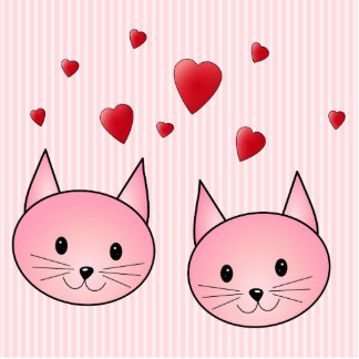 Cute Pink Cats, with Red Love Hearts. Acrylic Cut Outs