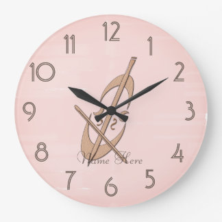 Cute Pink Cello O'clock Cream Add Name Clock