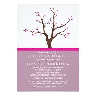 Cute Pink Cherry Blossom Tree Bridal Shower 13 Cm X 18 Cm Invitation Card