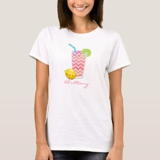 Cute Pink Chevron Lemonade & Lime Slice Monogram T-Shirt