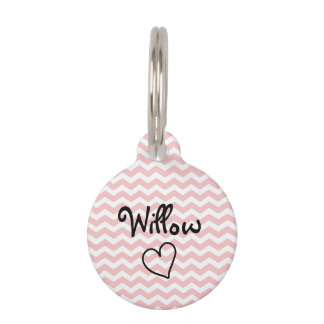 Cute Pink Chevron Personalized Pet Tag
