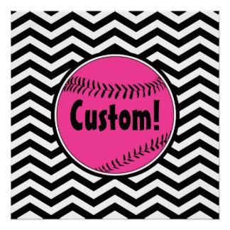 Cute Pink Chevron Softball Customizable Poster