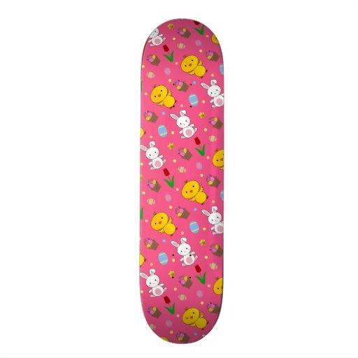 Cute pink chick bunny egg basket easter pattern skate board deck