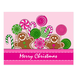 Cute pink Christmas gingerbreads Postcard