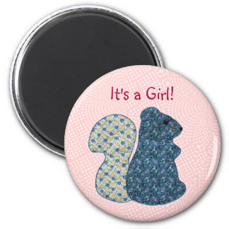 Cute Pink Country Style Squirrel Baby Girl 6 Cm Round Magnet