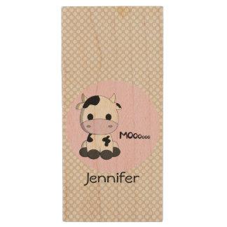 cute pink cow cartoon name girls usb flash drive