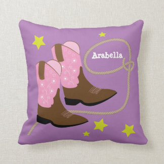 Cute Pink Cowboy Boots & Rope, Personalized Cushion