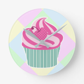 Cute Pink Cupcake and Pastel Colors Round Clock
