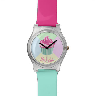 Cute Pink Cupcake and Pastel Colors Watch
