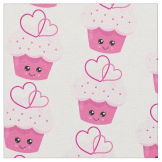 Cute Pink Cupcake Kawaii Baby Shower Fabric
