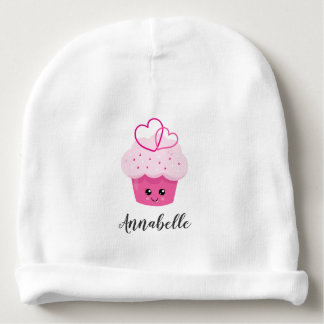 Cute Pink Cupcake Kawaii Baby Shower Monogram Baby Beanie