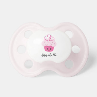 Cute Pink Cupcake Kawaii Baby Shower Monogram Dummy