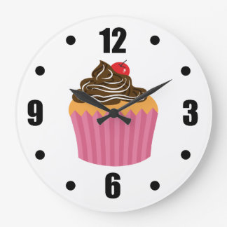 Cute Pink Cupcake Large Clock