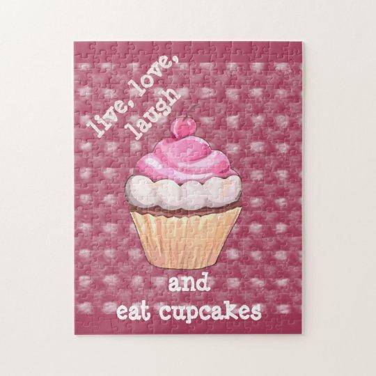 Cute Pink Cupcake Live, Love, Laugh  Puzzle
