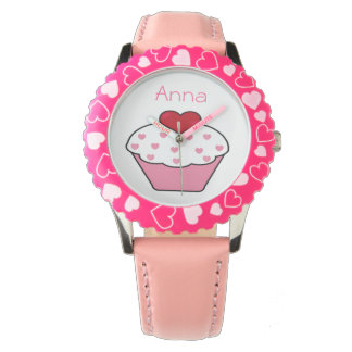 cute pink cupcake personalized design watch