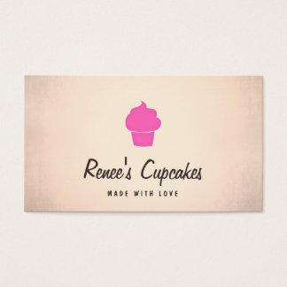 Cute Pink Cupcake Simple Retro Pastry Chef Copper Business Card