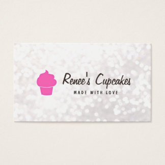Cute Pink Cupcake White Bokeh Pastry Chef Business Card