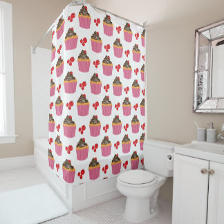 Cute Pink Cupcakes And Cherries Pattern Shower Curtain