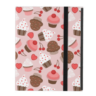 Cute Pink Cupcakes, Hearts And Cherries Pattern Covers For iPad