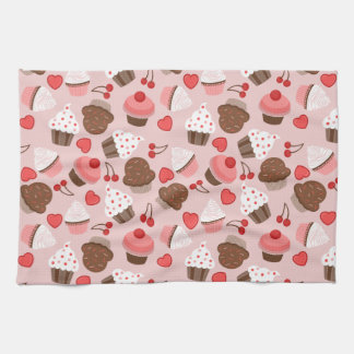 Cute Pink Cupcakes, Hearts And Cherries Pattern Kitchen Towel