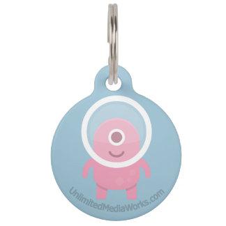 Cute Pink Cyclops Alien Pet Name Tags