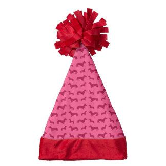 Cute pink dachshund pattern santa hat
