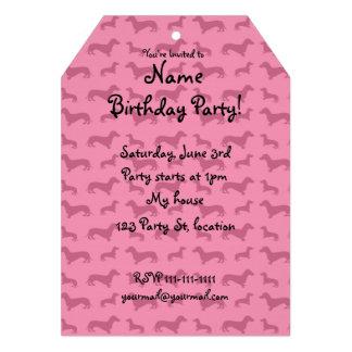 Cute pink dachshund pattern custom invitation
