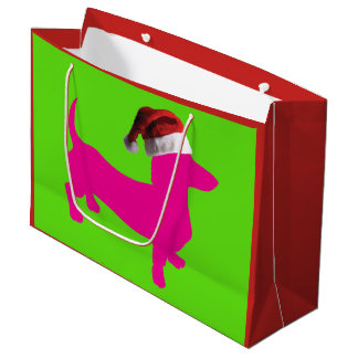 Cute Pink Dachshund Wearing a Santa Claus Hat Large Gift Bag