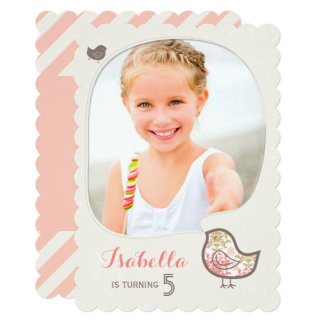 Cute Pink Damask Bird Photo Girl Birthday Invite