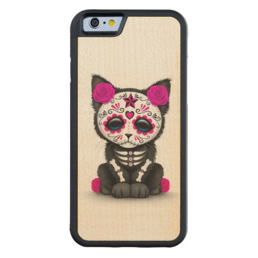 Cute Pink Day of the Dead Kitten Cat, White Carved® Maple iPhone 6 Bumper