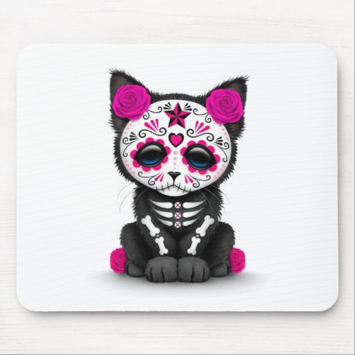 Cute Pink Day of the Dead Kitten Cat, white Mousepad