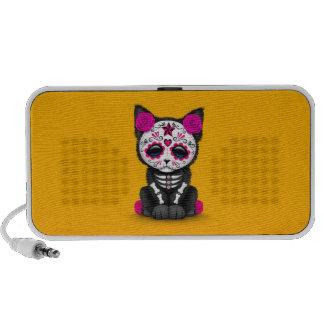 Cute Pink Day of the Dead Kitten Cat yellow Mp3 Speaker