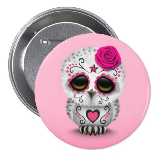Cute Pink Day of the Dead Sugar Skull Owl Pinback Button