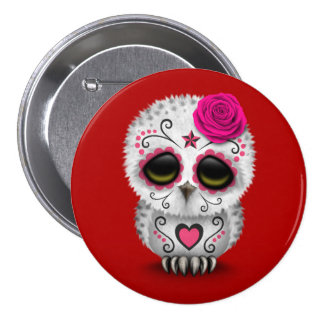 Cute Pink Day of the Dead Sugar Skull Owl Red Pinback Button