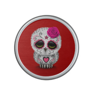 Cute Pink Day of the Dead Sugar Skull Owl Red Bluetooth Speaker