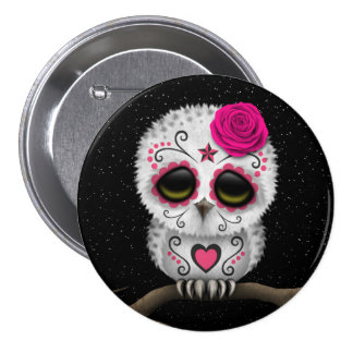 Cute Pink Day of the Dead Sugar Skull Owl Stars Pin