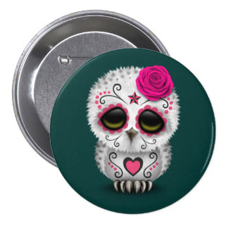 Cute Pink Day of the Dead Sugar Skull Owl Teal Button
