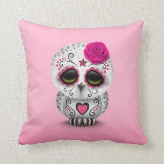 Cute Pink Day of the Dead Sugar Skull Owl Throw Cushion
