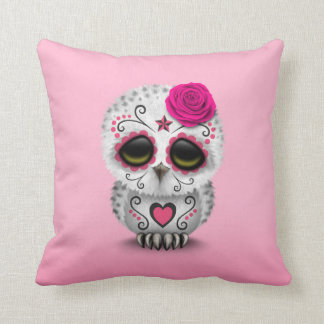 Cute Pink Day of the Dead Sugar Skull Owl Throw Pillow