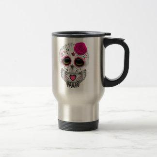 Cute Pink Day of the Dead Sugar Skull Owl Travel Mug
