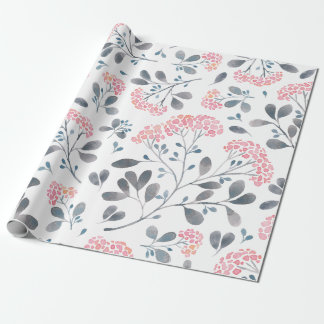 Cute Pink Delicate Flowers Pattern Wrapping Paper
