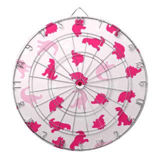 Cute pink dinosaurs dartboard