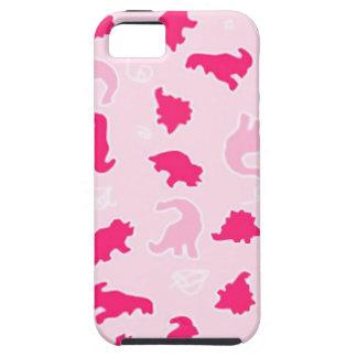 Cute pink dinosaurs tough iPhone 5 case