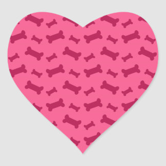 Cute pink dog bones pattern heart sticker