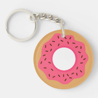Cute Pink Donut With Sprinkles Key Ring