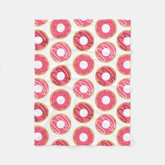 Cute Pink Donuts Pattern Fleece Blanket