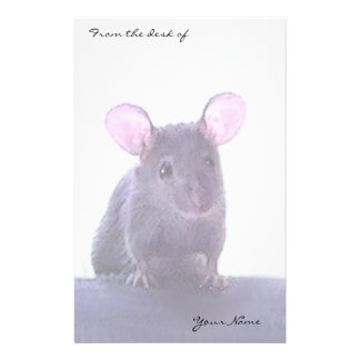 Cute Pink Eared Mouse Drawing Add Your Name Stationery