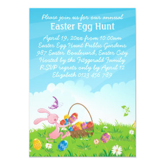 "Cute Pink Easter Bunny Easter Egg Hunt 5"" X 7"" Invitation Card"