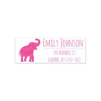 cute pink elephant address self-inking stamp